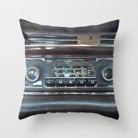mercedes Throw Pillows featuring Vintage Radio Becker Europa by Premium