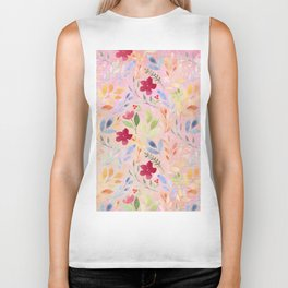 Floral Script Pattern - Pink Carnation Biker Tank