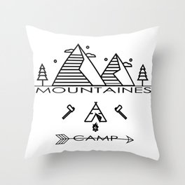 vintage mountaines camping design Throw Pillow