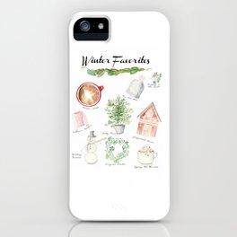 Winter Favorites in Watercolor iPhone Case