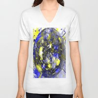white marble V-neck T-shirts featuring marble by donphil
