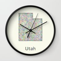 utah Wall Clocks featuring Utah map by David Zydd - Colorful Mandalas & Abstrac