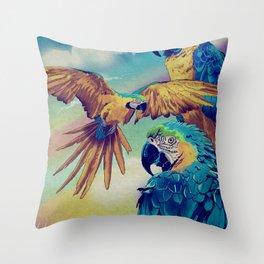 The Three Macaws Throw Pillow