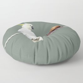 Cockatoo with Snail on Rope Floor Pillow