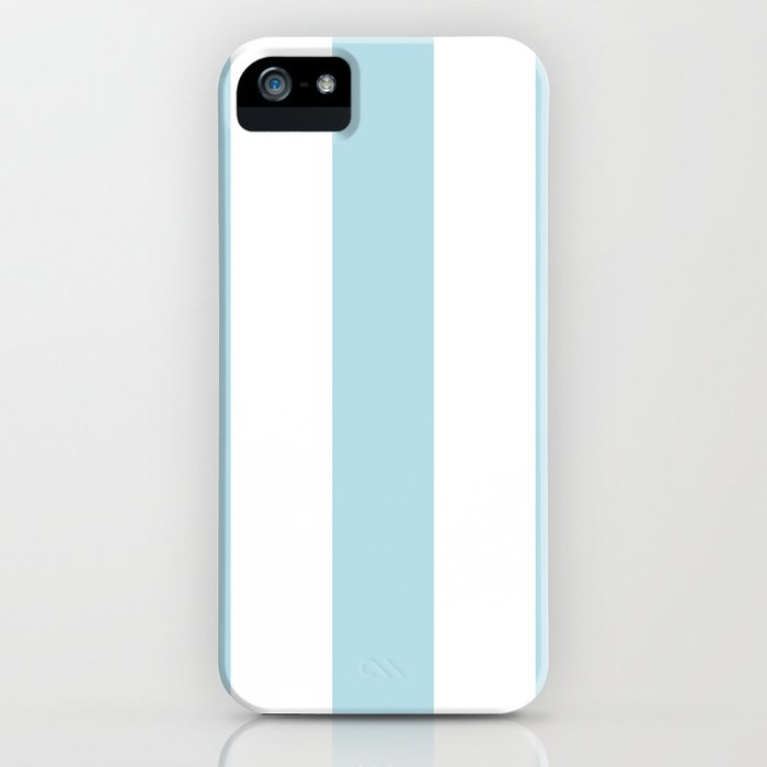 Aqua Blue and white stripe iPhone Case