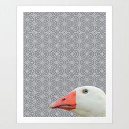 Goose Portrait, Star Pattern Montage Art Print