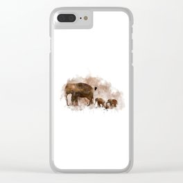 Elephant and Calves Clear iPhone Case