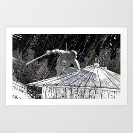 Black and White Ninja Turtle Leonardo Art Print