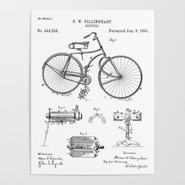 Bicycle Patent - Cyclling Art - Black And White Poster