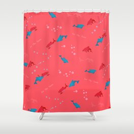 Pink Shark and Dolphin Shower Curtain