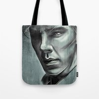 benedict cumberbatch Tote Bags featuring Benedict Cumberbatch by Schwebewesen • Romina Lutz