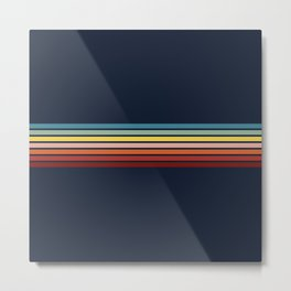 Taria - Classic Colorful Abstract 70s Vintage Style Retro Stripes Metal Print