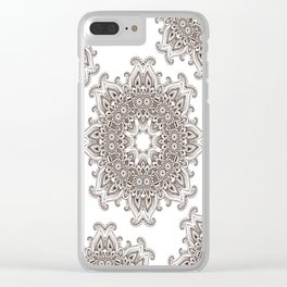 Mandala Bohemian Embellishments Decor Medallion Black on White Clear iPhone Case