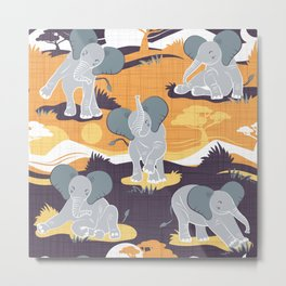 Baby African elephants joy night and day // yellow mustard Metal Print