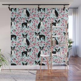 Boston Terrier cherry blossom spring dog breed pet art pet portrait pet friendly design Wall Mural
