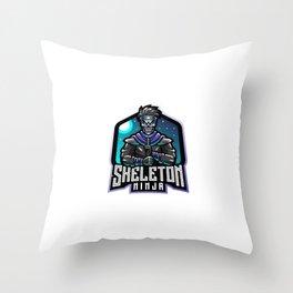 Skull Ninja Esport Mascot Logo Throw Pillow