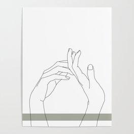 Hands line drawing illustration - Abi stripe Poster