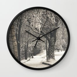 Walking in the Snow Wall Clock
