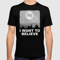I Want to Believe in a Hero LARGE Black Mens Fitted Tee