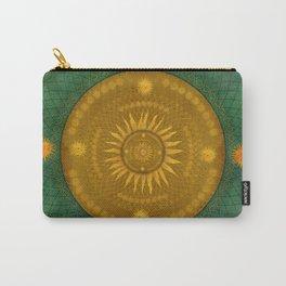 """Celestial Teal - Gold Ocher Mandala"" Carry-All Pouch"