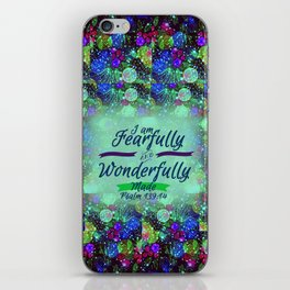 FEARFULLY AND WONDERFULLY MADE Floral Christian Typography God Bible Scripture Jesus Psalm Abstract iPhone Skin