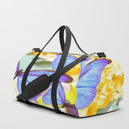 Bright Blue Butterflies Yellow Flowers #decor #society6 #buyart Duffle Bag