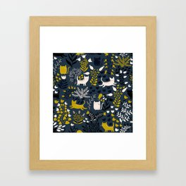 Cats and Flowers Pattern Framed Art Print