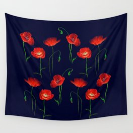 Red Poppy Meadow Night Wall Tapestry