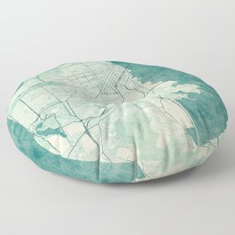 San Francisco Map Blue Vintage  Floor Pillow