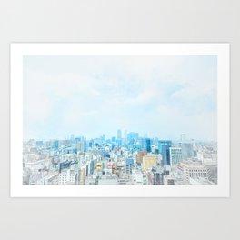 modern city skyline aerial view under sunrise and blue sky in Nagoya, Japan Art Print