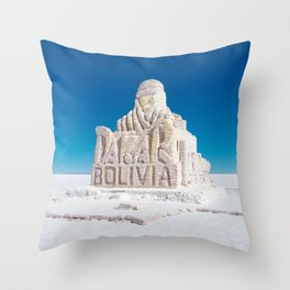 Dakar, Bolivia Monument in Salar de Uyuni, Salt Flats Throw Pillow