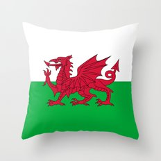 Flag of Wales - Hi Quality Authentic version Throw Pillow