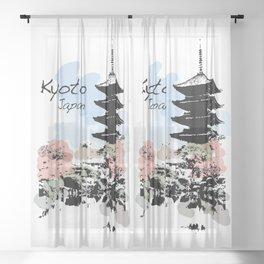 Kyoto Temple Japan Sheer Curtain