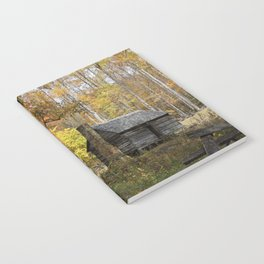Smoky Mountain Rural Rustic Cabin Autumn View Notebook