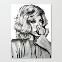 rihanna Canvas Prints featuring Rihanna by Ellie Wilson Designs