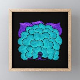 Welcome Flower (blue on black) Framed Mini Art Print
