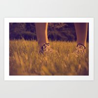 converse Art Prints featuring Converse by Sarah Zanon
