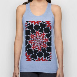 Bizarre Red Black and White Pattern 2 Unisex Tank Top