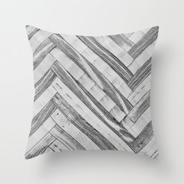 Vintage Diagonal Design //Black and White Wood Accent Decoration Hand Scraped Design Throw Pillow