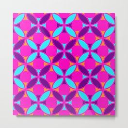 Geometric Floral Circles Vibrant Color Challenge In Bold Purple Pink Orange & Blue Metal Print