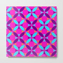 Geometric Floral Circles Vibrant Color Challenge In Bold Purple Pink Orange & Blue Metal Print