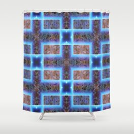 geometric ink blot and smudge ancient techno geek pattern Shower Curtain