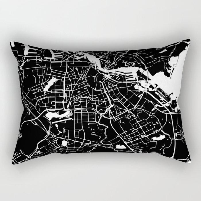 Amsterdam Black on White Street Map Rectangular Pillow
