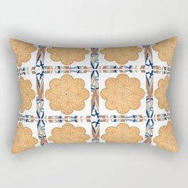 Earth Tones - Etched Wood - Flower of Life Rectangular Pillow