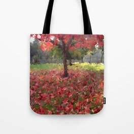 Oil crayon illustration of a red maple tree in the Boston Public Garden Tote Bag