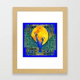 FULL GOLDEN MOON & 2  BLUE PEACOCKS PATTERN ART Framed Art Print