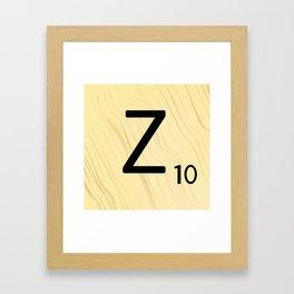 Scrabble Z Initial - Large Scrabble Tile Letter Framed Art Print