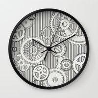 house stark Wall Clocks featuring Stark Gears by Samantha Lynn