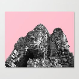 Part of Angkor Wat with pink Canvas Print