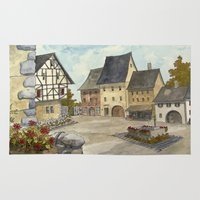 german Area & Throw Rugs featuring German Village by rob carey